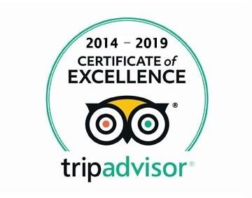 2014 - 2019 tripadvisor Certificate of Excellence